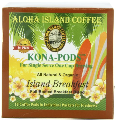 Aloha Island Coffee KONA-POD, Island Breakfast Med Light Roast, Kona & Hawaiian Coffee Blend, 12-Count Coffee Pods