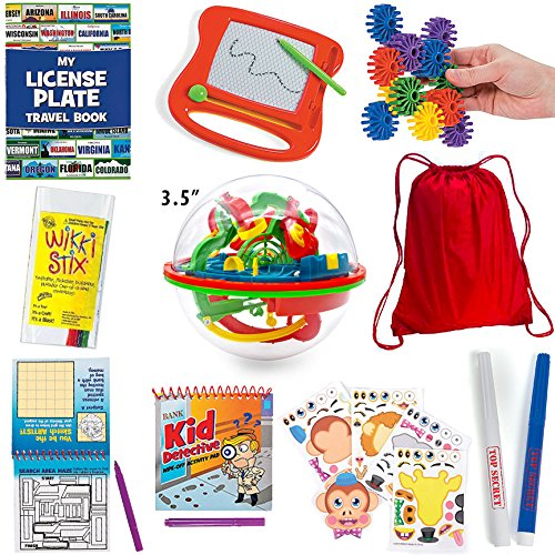 20 pc travel games for kids in car and on plane backpack doodle pad maze ball license plate game antagongame