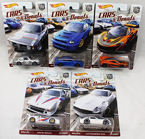 Hot Wheels Car Culture Cars and Donuts Set of 5 Real Rider Collectible Die Cast Toy