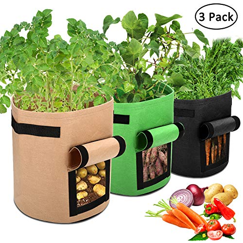 Accmor 3 Pcs Garden Potato Grow Bags with Flap and Handles Fabric Pots Heavy Duty, 7 Gallon Potato Tomato Planter Bag Vegetable Planting Bag