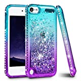 iPod Touch 5 6 7 Case, iPod Touch Case 5th 6th 7th Generation for Girls, Ruky Quicksand Series Glitter Flowing Liquid Floating Bling Diamond Flexible TPU Cute Case for iPod Touch 5 6 7 (Teal Purple)