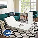 """Modway 4"""" Relax Twin XL Tri-Fold Mattress CertiPUR-US Certified with Soft Removable Cover and Non-Slip Bottom (39' x 75"""") - 10-Year Warranty"""