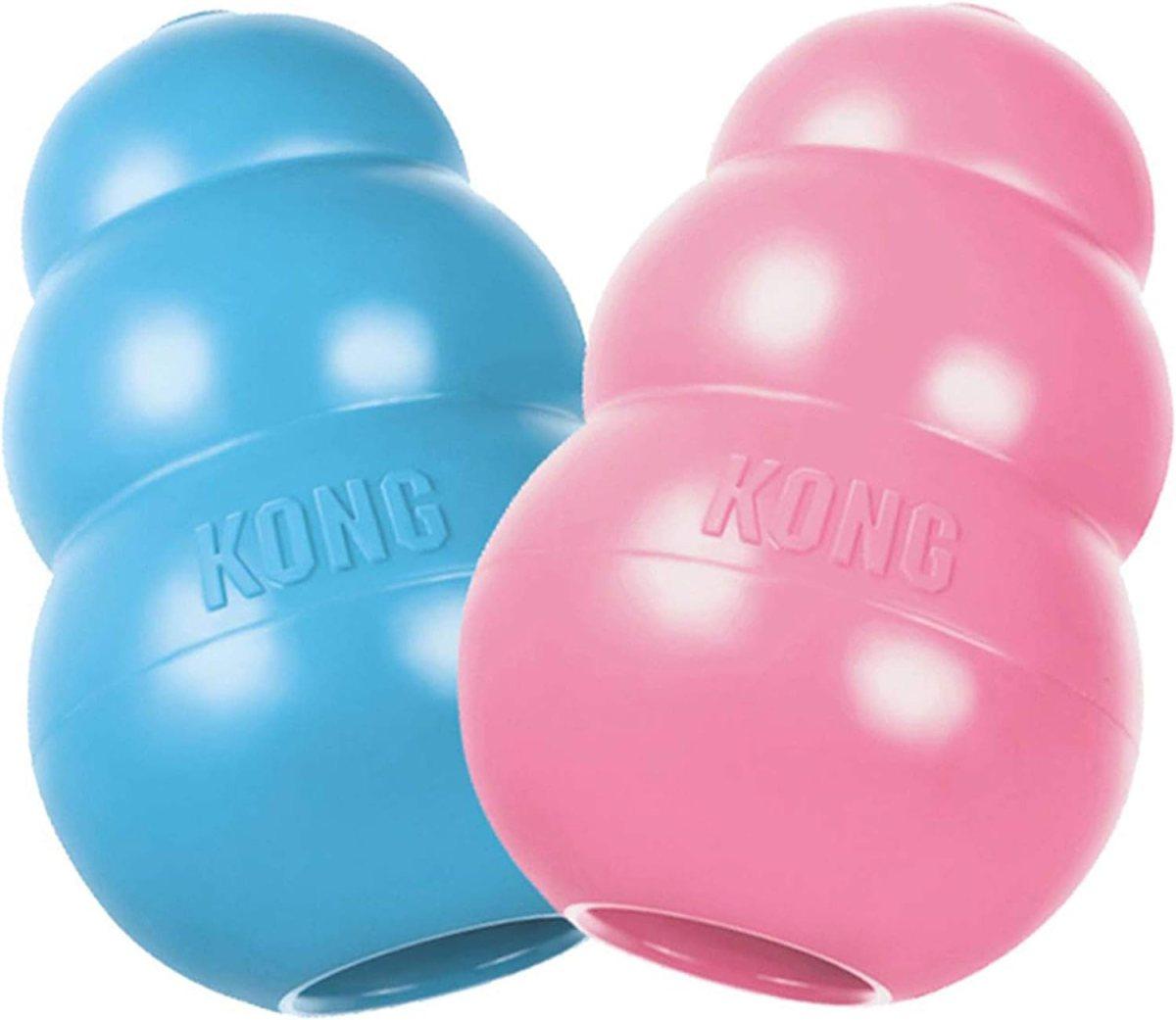 KONG - Puppy - Juguete de caucho natural para dentición - Para Cachorros Medios (colores pueden variar)