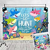 Art Studio Baby Shark Family Let's Go Hunt Photo Background Blue Ocean Photography Backdrops Baby Shower Studio Props Booth Vinyl 7x5ft