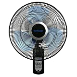 Hurricane 736565 Fan Super 8 Oscillating 16 Inch Wall, Black