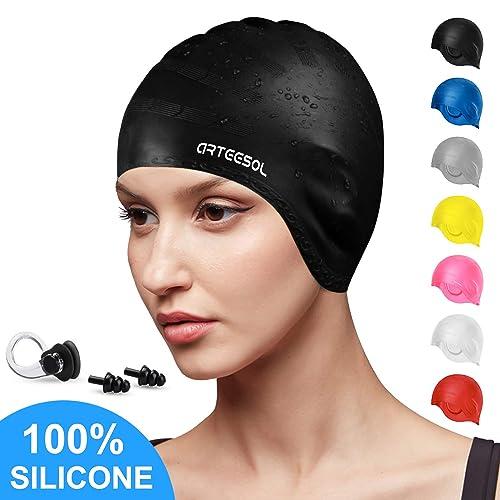 arteesol Swimming Cap, Silicone Swim Cap for Women Men, Durable Non-Slip Waterproof Swim Cap Protect Ears, Long Hair for Adults, Older Kids, Boys and Girls