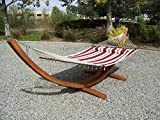 Petra Leisure 14 Ft. Wooden Arc Hammock Stand + Deluxe Quilted Double Padded Hammock Bed w/Pillow. 2 Person Bed. 450 LB Capacity(Teak Stain/Elegant Red Stripe)