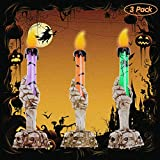 YBB 3 Pack Halloween Skull Candle Holder Light, Skeleton Ghost Hand Flameless Candle Lamp Party Bar Decoration Lamp (Green, Orange, Purple)
