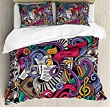 Ambesonne Doodle Duvet Cover Set Queen Size, Music Themed Hand Drawn Abstract Instruments Microphone Drums Keyboard Stradivarius, Decorative 3 Piece Bedding Set with 2 Pillow Shams, Multicolor