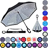 Z ZAMEKA Double Layer Inverted Umbrellas Reverse Folding Umbrella Windproof UV Protection Big Straight Umbrella Inside Out Upside Down for Car Rain Outdoor with C-Shaped Handle (New White Dot)