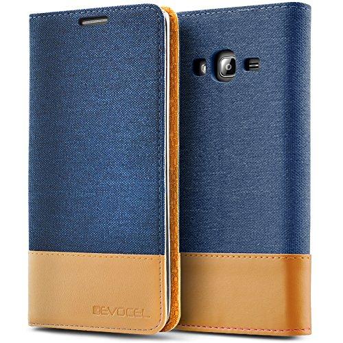 Galaxy J3 (2016) / Galaxy Express Prime / J3 V Case, Evocel [FolioSeries] Canvas Flip Case with Magnetic Closure & Kickstand for Samsung Galaxy J3 (Model No J320) / Galaxy Sky/Galaxy Sol, Navy