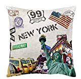 ITFRO Retro Vintage New York City Skyscraper Cotton Linen Square Decorative Retro Throw Pillow Case Vintage Cushion Cover 18'X18 (4)