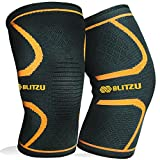 BLITZU Flexible Plus Knee Sleeves Approved Infused Pressure Day Dance Active Weights Hiking Protector Medical Grade Reliever Pads Squats Lifting Unloading Orange L