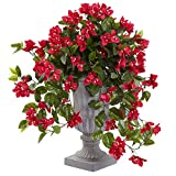 Nearly Natural 6839-RD Bougainvillea Flowering Silk Plant with Decorative Urn, UV Resistant (Indoor/Outdoor)