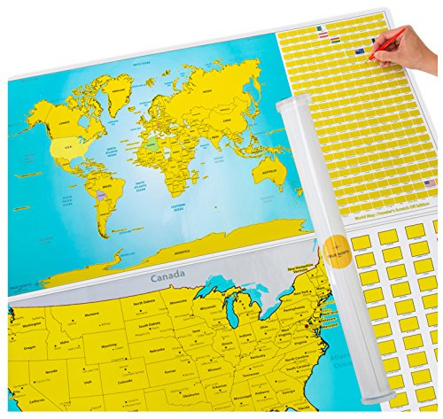 Scratch Off World And Us Travel Tracker Map Set See The World - Us-travel-map