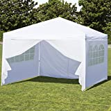 Best Choice Products 10x10ft Portable Lightweight Pop Up Canopy Tent w/ Side Walls and Carrying Bag - White/Silver