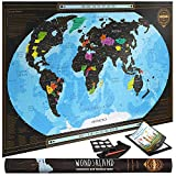 Travel XL Scratch Off Map of the World with outlined US States | Personalized Wall Map Poster | Deluxe Gift for Travelers| BONUS Adhesive Stickers + Scratching Tool + Wiping Cloth + Traveling eBook