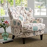Christopher Knight Home 299126 Tafton Arm Chair, White + Blue