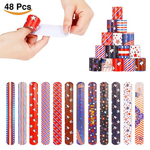 48pcs Fourth of July Patriotic Slap Bracelets Party Favors Pack 12 Designs with USA Flag Stars