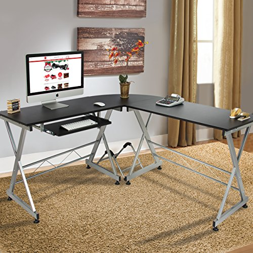 Best Choice Products Wood L-Shape Corner Computer Desk
