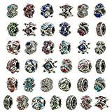 TOAOB 30pcs Antique Silver European Style Beads Assorted Rhinestone Large Hole Charm