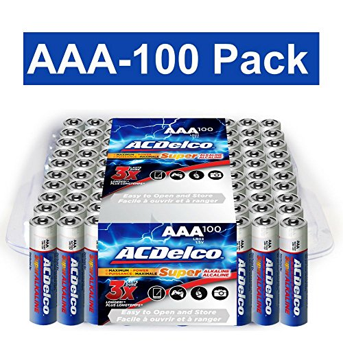 ACDelco AAA Super Alkaline Batteries in Recloseable Package, 100 Count
