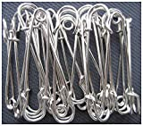 LeBeila Large Safety Pins, Strong Blanket Pins in Bulk Heavy Duty and Stainless Steel & Sharp (20pcs, Bright Silver)