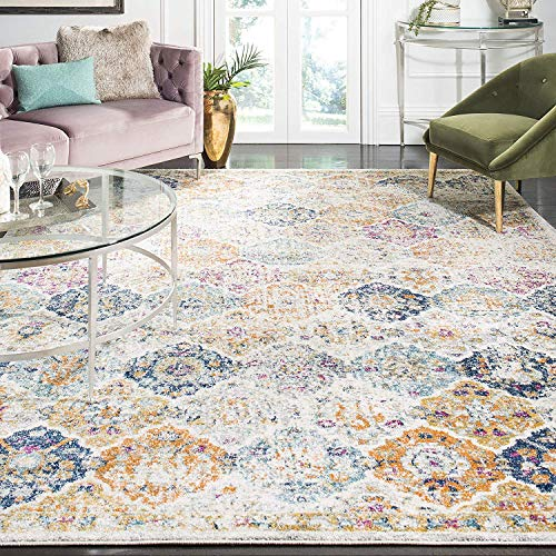 """Safavieh Madison Collection MAD611B Cream and Multicolored Bohemian Chic Distressed Area Rug (5'1"""" x 7'6"""")"""