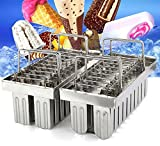 TeeNoke 20pcs Stainless Steel Molds Ice Lolly Popsicle Ice Cream Stick Holder (A)