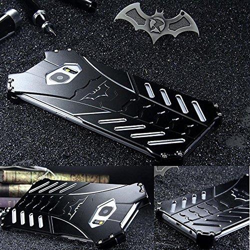 GOODKSSOP LUXURY Batman Style Shockproof Aluminum Bumper Skin Metal Back Case Cover For Samsung Galaxy S6 edge (For Samsung Galaxy S6 edge)