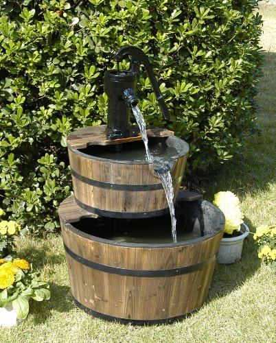 Wood Barrel with Pump Outdoor Water Fountain - Large Garden Water ...