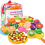 Kitchen Toys Fun Cutting Fruits Vegetables Pretend Food Playset for Children Girls Boys Educational Early Age Basic Skills Development 24pcs Set