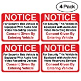 (4 Pack) Notice Vehicle is Equipped with Audio and Video Recording Devices Consent by Entering Sticker - Self Adhesive 2½ X 3½' 4 Mil Vinyl Decal — Indoor & Outdoor Use — UV Protected & Waterproof —
