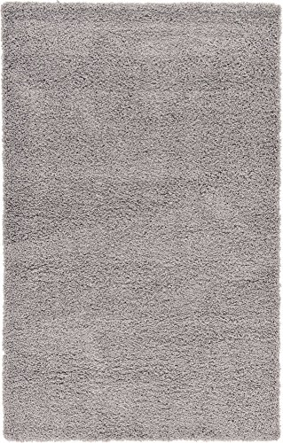 Unique Loom Solo Solid Shag Collection Modern Plush Cloud Gray Area Rug (5' x 8')