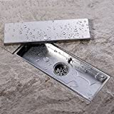KES SUS 304 Stainless Steel Shower Floor Drain with Removable Cover 11.8-Inch Long Brushed Finish, V220S30