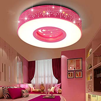 Lyxg Children S Room Light Girls Bedroom Light Ceiling Lamp Led Light Princess Warm Rooms Stars Romantic Round Lights 40cm Amazon Co Uk Lighting