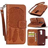 LG K7 Case, LG Tribute 5 Case, Harryshell Caving Dream Catcher PU Wallet Leather Case Cover with Card Slots & Strap for LG K8 / Escape 3 / Phoenix 2