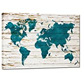 sechars - World Map Wall Art Canvas Abstact Map on Vintage Wooden Backgroud Canvas Prints Modern Living Room Teal Wall Decor Framed Artowrk Ready to Hang,24x36