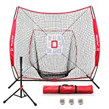Keenstone 7'×7' Baseball Softball Practice Net | Hitting, Pitching, Batting, Catching, Fielding | with Batting Tee, 3 Training Balls, Strike Zone Target, Carry Bag