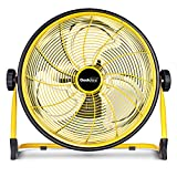 GeekAire Rechargeable Outdoor High Velocity Floor Fan,16'' Portable 15600mAh Battery Operated Fan with Metal Blade for Garage Barn Gym Camp,3-24 h Run Time Cordless Industrial Fan,USB Output for Phone