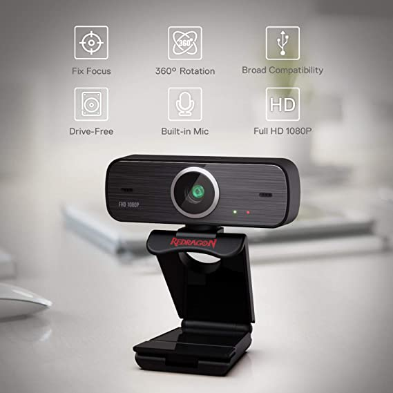 Amazon.com : Redragon GW800 1080P Webcam with Built-in Dual Microphone, 360-Degree Rotation - 2.0 USB Skype Computer Web Camera - 30 FPS for Online Courses, Video Conferencing and Streaming : Electronics