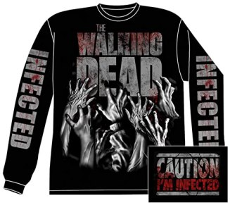 Long Sleeve: The Walking Dead- Infected Hands (Front/Back) Longsleeve Shirt Size S
