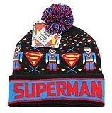 Superman Men's Intarsia Fair Isle Cuff Pom Beanie, Black, One Size