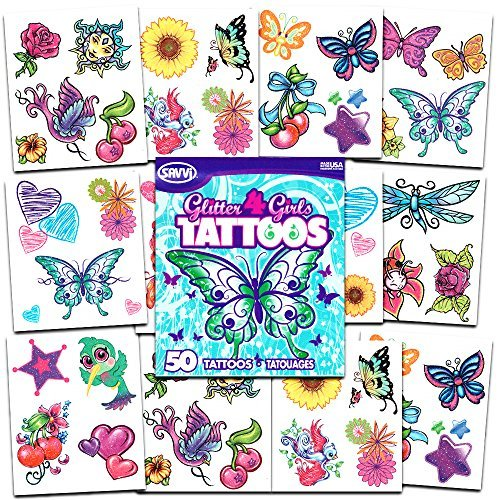 Savvi Glitter Tattoos ~ 36 Dazzling Designs ~ Hearts, Butterflies, Flowers, and More!