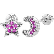 Rhodium Plated Screw Back Earrings Toddlers Girls Children's Pink CZ Moon Star