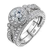 Newshe Vintage Bridal Set Round White Cz 925 Sterling Silver Wedding Engagement Ring Set Size 8