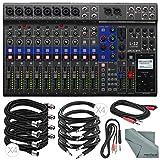 Photo Savings Zoom LiveTrak L-12 Channel Digital Mixer and Multi-Track Recorder Basic Bundle w/ 10X Cables and Fibertique Cloth