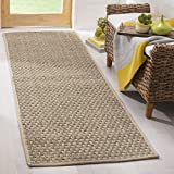 Safavieh Natural Fiber Collection NF114A Basketweave Natural and Beige Summer Seagrass Runner (2'6' x 10')