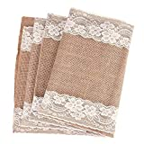 Ling's moment Natural Hessian Burlap Table Runner 108 Inch White Lace Trim for Thanksgiving Christmas Country Rustic Wedding Decorations Farmhouse Kitchen Decor