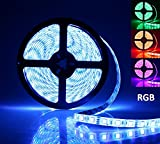 AllBlue LED Light Strip, Rope Lights, 16.4ft RGB 5050smd 300led Waterproof Flexible Led Light Strip Lamp with 44Keys IR Remote Controller and Power Supply for Cars Trucks Boats Bedroom Garden - RGB